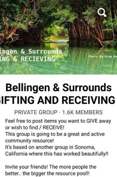 How to develop a money-free country / world? Using the internet to connect to our community in new ways can have amazing results! In our local area there are groups where you can share items that you are wanting to give away/ share and also items that you may be looking for WITHOUT monetary exchange. This Bellingen group on social media is one example of this idea which is based off a system which has been implemented in Sonoma, California. Sonoma California, Connect, Innovation, Internet, Community, Social Media, Explore, Money, Group