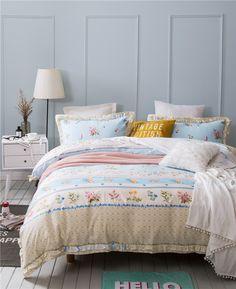 ivarose korean style bedding set girls duvet cover set with bed sheet pillow case queen