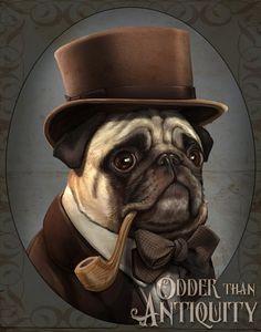 Mr. Farnsworth Pug Gentleman Victorian Steampunk Top Hat Pipe Original Illustration Costumed Portrait Poster Print - 4 Sizes Available