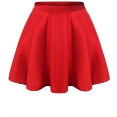 URBANCLEO Womens Solid Versatile A-Line Stretchy Flared Skater Skirt ($9.99) ❤ liked on Polyvore featuring skirts, stretch skirt, red a line skirt, stretchy skirt, a line flared skirt and red flare skirt