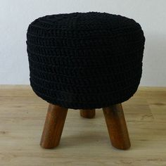 Black stool with hand crocheted cover, crochet footstool, pouf with three legs, round side table, hocker, Ottoman, NEW Handmade