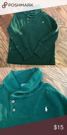 Authentic Ralph Lauren Polo pullover shawl color Authentic Ralph Lauren polo pullover boys sweatshirt with a shawl collar and button front closure ! It's hunter green pre-loved condition some minor piling but  no stains or damage tons of life left in the shirt perfect as a layering piece or worn alone Polo by Ralph Lauren Shirts & Tops
