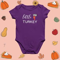 Little Turkey Thanksgiving kids clothes baby onesie Baby Onesie, Thanksgiving Turkey, Cute, Kids, Clothes, Fashion, Baby Overalls, Young Children, Outfits