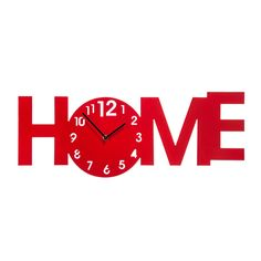 Wall Clock, Red MDF, Home Design