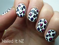 Nailed It NZ: Nail art for short nails #8 - White leopard print nail art http://nailedit1.blogspot.co.nz/2013/01/nail-art-for-short-nails-8-white.html