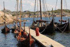 Viking ships, resting in the harbour. http://www.viking-mythology.com/index.php