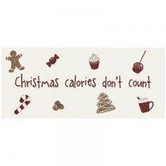 Blechschild mit der Aufschrift: Christmas Calories don't count. Weihnachtsdekoration für die Küche.Eigent sich auch hervorragend als Geschenk für die beste Freundin, den Hobbykoch, als Wichtelgeschenk oder einfach so, um jemanden eine Freude zu bereiten.