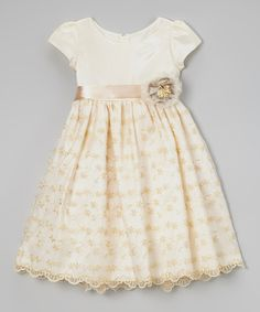 Another great find on #zulily! Ivory Embroidered Rosette Dress - Toddler & Girls by Cinderella Couture #zulilyfinds
