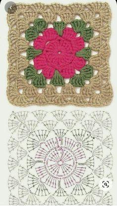 Motifs Granny Square, Granny Square Crochet Pattern, Crochet Flower Patterns, Crochet Diagram, Crochet Chart, Crochet Squares, Crochet Blanket Patterns, Granny Squares, Crochet Granny
