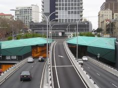 Beautifully designed Copper Patina roof spanning the entrance to the Lane Cove tunnel, Sydney