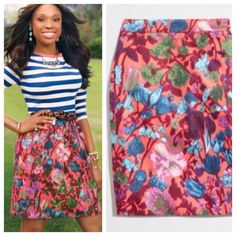 J. Crew floral pencil skirt Get work ready with this beautiful floral pencil skirt.  Excellent condition.  Back zip.  From Factory.  *Modeled cover shot pic is same print, but different style skirt. J. Crew Skirts