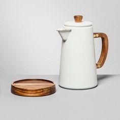 Hearth & Hand with Magnolia Cocoa Pot With Acacia Finish - White