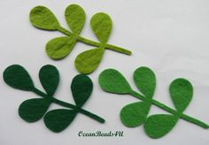 Other – 30 Green Felt Leaves – a unique product by OceanBeads4U on DaWanda