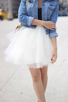 Denim Jacket + Tulle skirt