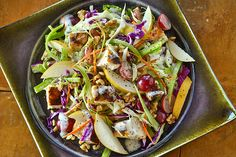 Cha Cha Chicken Salad - BRIANNAS Salad Dressings This is as close to my recipe as I can find.  I use broccoli slaw and I don't use pears.  I add a small bag of craisins.