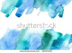 Blue and green watery frame .Abstract watercolor hand drawn illustration.  Azure splash.White