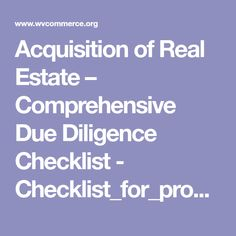 real estate due diligence checklist pdf
