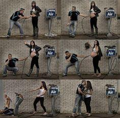 Cute pregnancy photo timeline using an air pump