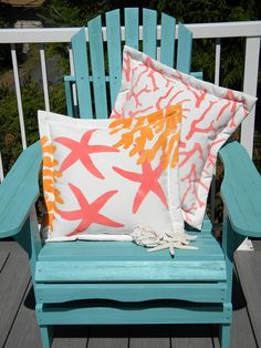 Undersea painted 20 pillow sherbet colors coastal by crabbychris, $41.00