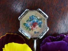 Art Deco Silver Pendant with Hand Painted Flowers by LaCassoulere, €18.00