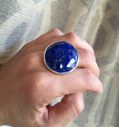 Large Round Cobalt Blue Lapis Cube Cut Statement Ring in Sterling Silver by GildedBug on Etsy