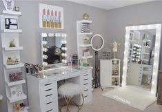 Vanity with mirrors and chair , shelves, lights - Recipes Cute Bedroom Decor, Bedroom Decor For Teen Girls, Girl Bedroom Designs, Room Ideas Bedroom, Teen Room Decor, Stylish Bedroom, Beauty Room Decor, Makeup Room Decor, Makeup Rooms
