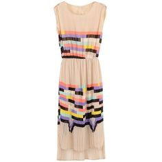 Pink Sleeveless Rainbow Print Striped Sundress ❤ liked on Polyvore featuring dresses, rainbow dresses, pink stripe dress, sundress dresses, sun dresses and striped sundress
