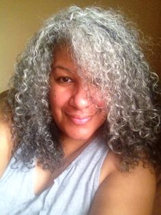 My gray curly hair don't care