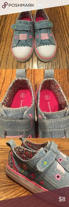Koala Kids denim sparkle sneakers Like new! I thought my daughter was a 6 when she was actually a 7, so these were only worn 3 times! Koala Kids Girls VELCRO® brand closure Casual Shoe. Spectacular Koala Kids low cut shoe with one VELCRO® brand closure strap and a gore. It contains a denim upper material with flowers and hearts embroidery, one VELCRO® brand closure strap and a pink gore through eyelets, and molded rubber outsole. Comfortable fit. Koala Kids Shoes Sneakers