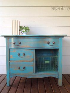 Aqua dresser painted by Ferpie and Fray White Painted Furniture, Paint Furniture, Furniture Projects, Furniture Making, Furniture Makeover, Cool Furniture, Painted Chest, Recycled Furniture, Refurbished Furniture
