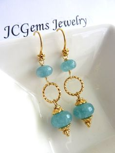 Aquamarine Quartz Twisted Ring Gold Vermeil Earrings