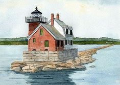 East Coast Lighthouses, Maine Lighthouses, Landscape Prints, Watercolor Landscape, Watercolor Print, Lighthouse Painting, Wall Art Pictures, Art Prints, Stationery