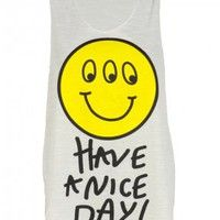 Have A Nice Day Print White Vest w Smiley Face