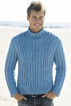 Mens Cabled Turtleneck in COTTON CLASSIC. Free pattern