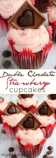 These decadent cupcakes start with a super moist, delicious chocolate cake, studded with Ghirardelli Premium Baking Chips, and topped with a strawberry cream cheese frosting and garnished with a beautiful Ghirardelli Valentine Impressions chocolate! Chocolate Strawberry Cupcakes, Strawberry Cream Cheese Frosting, Tasty Chocolate Cake, Strawberry Recipes, Chocolate Cheese, Cupcake Recipes, Cupcake Cakes, Dessert Recipes, Yummy Cupcakes