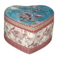 2016 Home Trends - Space saving patterned gypsy rose vintage shabby chic stool.