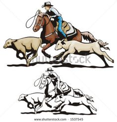 stock vector : Illustration of a rodeo calf roping