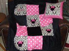 Personalized Custom Made For U  Shabby  Baby  Girl  or Boy Lots of  Minky Chenille Minnie Mouse  Traditional Quilt & Pillow Set So Cuddly