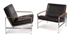 """Preben  Fabricius & & Jorgen Kastholm  Lounge chairs (2)  Designed 1968  Steel, leather cord, leather upholstery    Alfred Kill  Retains remnant of upholstery tag """"Made by Alfred Kill""""  30"""" x 29"""" x 30"""". s9"""