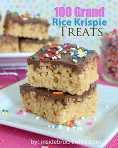 100 Grand Rice Krispie Treats - rice krispies go to a whole new level with caramel and a chocolate topping...sprinkles are not optional  http://www.insidebrucrewlife.com