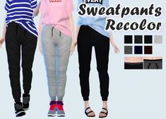 Sweatpants Recolors at Rinvalee via Sims 4 Updates( there is no actual download link so you have to google the download)