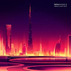 YotaPhone 2 - Dubai as graphic artwork by Romain Trystram created for a series of wallpapers. Pixel Art, Dubai, Scenery Background, City Wallpaper, Black Wallpaper, Neon Aesthetic, Affinity Designer, Retro Waves, Graphic Artwork