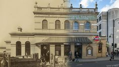 Gloucester Road underground station -The Museum of London has released some new hybrid images of street scenes from around the capital. This composite shows the front of Gloucester Road underground station pictured in 1868 and in 2014.