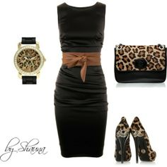 Dolce and Gabbana dress with minimal leopard accessories, created by shauna-rogers on Polyvore - Click image to find more hot Pinterest pins