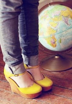 Yellow wedge shoes