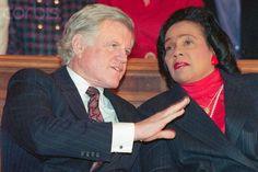 Senator Edward Kennedy and Coretta Scott King, October 1990.   www.facebook.com/pinkpillbox Behind Every Great Man, Coretta Scott King, Historical Women, King Jr, Time Capsule, African American History, Martin Luther King, Civil Rights, Black History