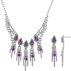 Crystal Allure Fringe Necklace and Linear Drop Earring Set ($72) ❤ liked on Polyvore featuring jewelry, earrings, purple, imitation jewellery, fringe earrings, post drop earrings, purple jewelry and artificial jewellery