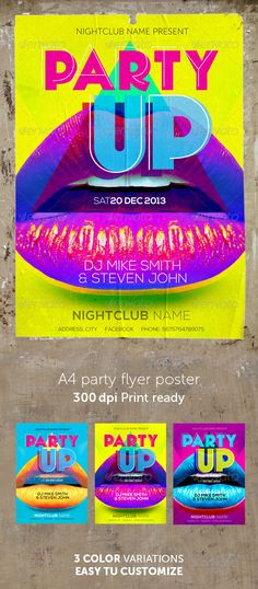 Party Flyer and poster File Info: A4 300dpi, CMYK color3 color versions Print ready Font used: Geomancy, Nexa 1- Geomancy Extra Bold, Geomancy Hairline http://www.dafont.com/geomancy.font2- Nexa Bold, Nexa Light http://fontfabric.com/nexa-free-font/