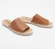 Make your pedicure pop with these leather slides featuring a pretty scalloped edge and an espadrille design. From Sam Edelman. Sam Edelman Espadrilles, Leather Espadrilles, Beautiful Sandals, Comfortable Sandals, Wide Feet, Walk On, Slide Sandals, Soft Leather, Scalloped Edge