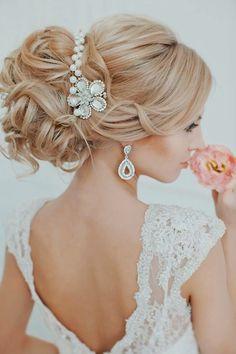 Glamorous Wedding Updo With Flower Veil Glamorous-Curly-Wedd